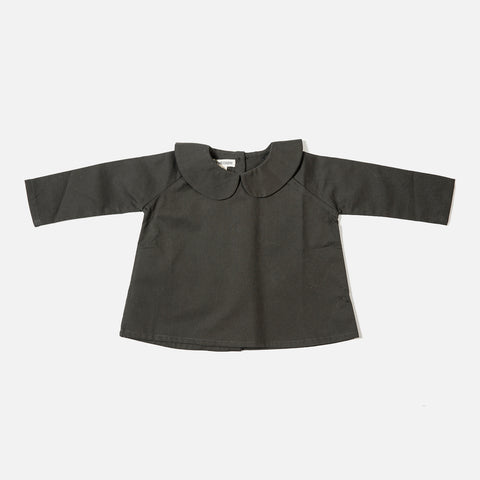Cotton Peter Pan Shirt LS - Olive - 6m-5y