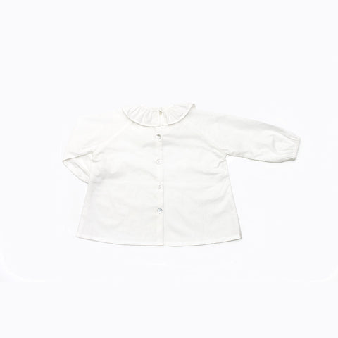 Cotton Ruffle Neck Shirt - White - 6m-5y