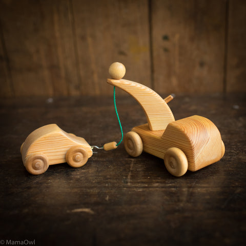 Wooden Small Tow Car With Small Car