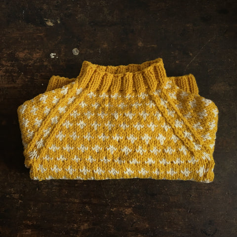 Hand-Knit Sweater Knud - Curry - 6-10y