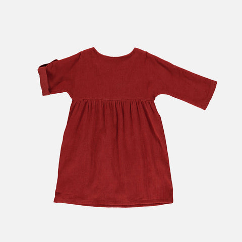 Organic Corduroy Agatha Dress - Deep Red - 2-10y