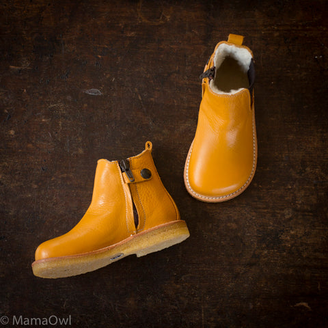 Wool Lined Chelsea Boots - Ocher/Brown - 22 (UK 5) - 33 (UK 1)