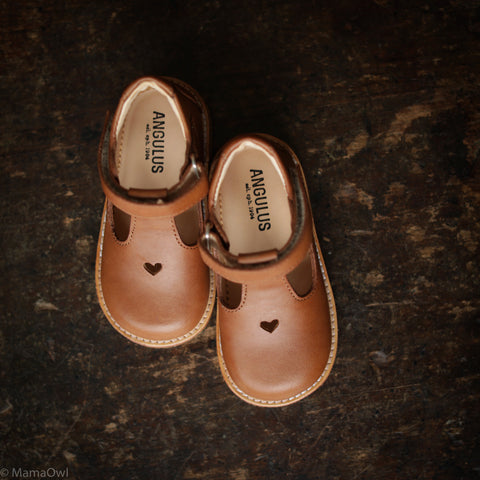 T-Bar Heart Toddler Shoes - Tan - 21(UK4.5) - 25(UK8)