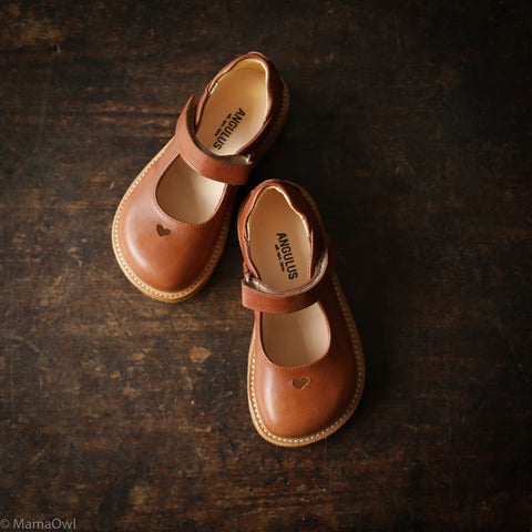 Mary Jane Heart Shoe - Tan - 26 (UK 8.5) - 34 (UK 2)