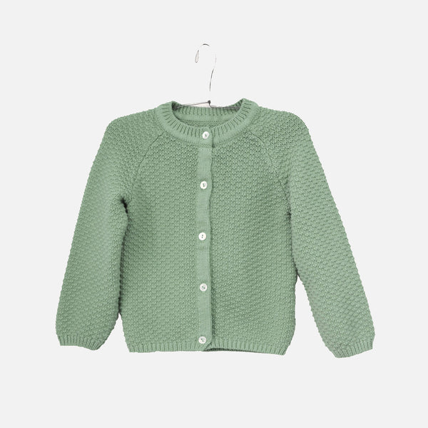 Cotton / Merino Armel Cardigan - Lichen Blue - 8y