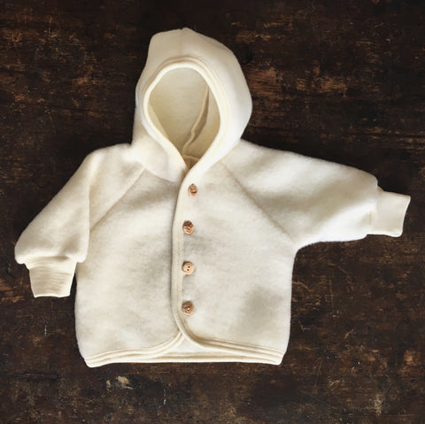 100% supersoft Organic Merino Wool Fleece Jacket - Natural - 0-24m