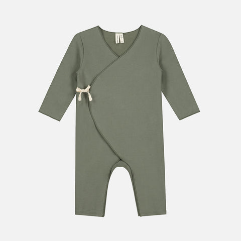Organic Cotton Cross Over Baby Suit - Moss