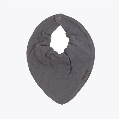 Organic Cotton Muslin Bandana Bib - Grey