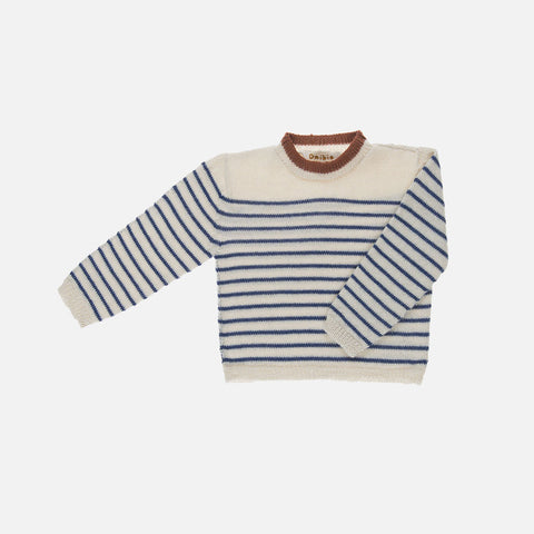 Organic Alpaca Bee Sweater - Ecru/Blue - 3-8y