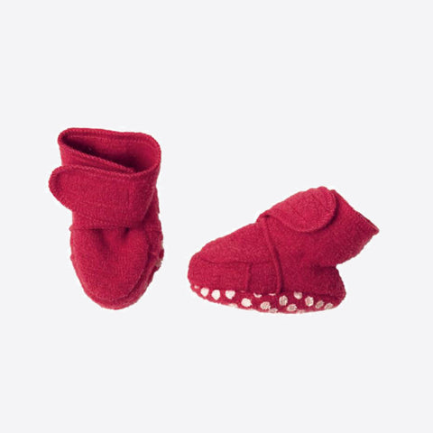 Organic boiled wool booties - Berry & Hazelnut