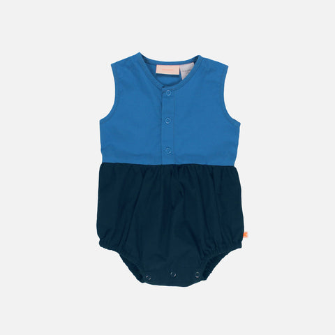 Cotton Colour Block Romper - Dark Navy - 3-18m