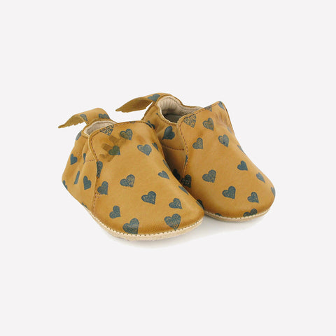 Eco leather slippers -  Blublu hearts - Natural - 20/21