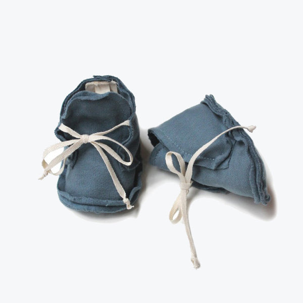 Organic Raw Edged Booties - Denim - 0-12m