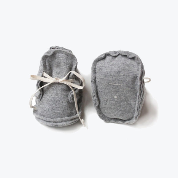 Organic Raw Edged Booties - Grey Melange - 0-12m