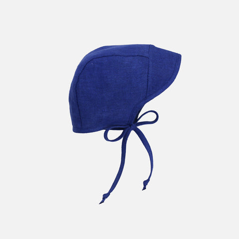 Cotton/Hemp/Wool Brimmed Bonnet - Cobalt - 0m-4y