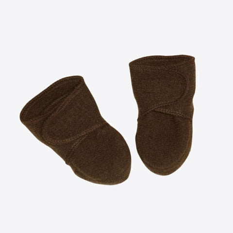 Organic Boiled Wool Booties - Hazelnut