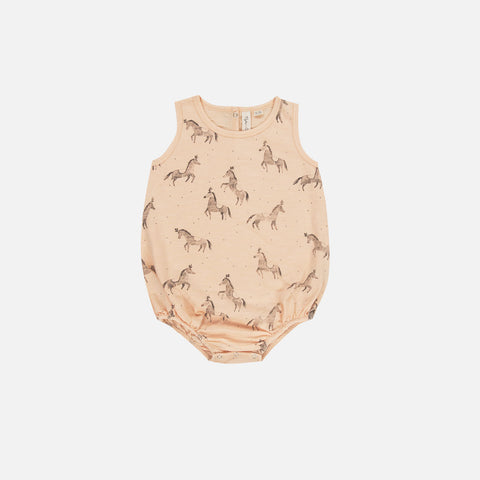 Cotton Circus Horses Bubble Romper - Blush - 3-24m