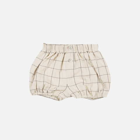 Cotton Check Bubble Shorts - Ivory - 12m-5y