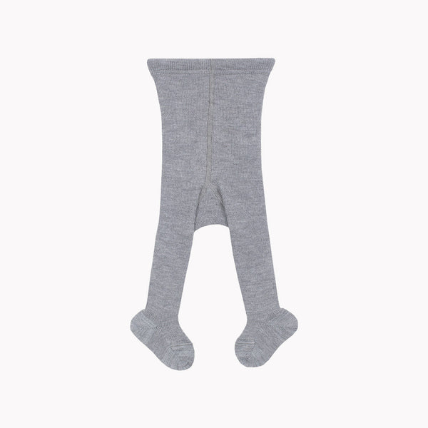 Fine merino wool/cotton baby tights - Slate - 2m-1y