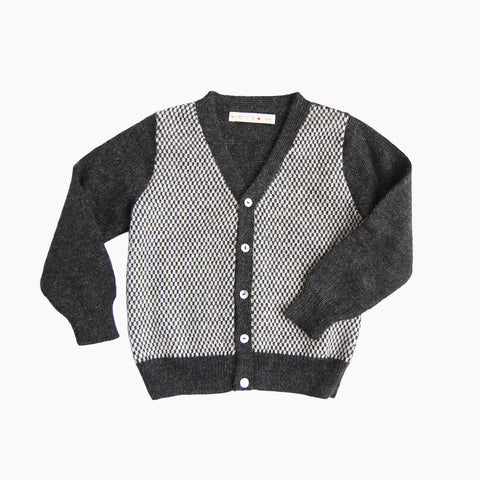 Alpaca Peter Cardigan - Charcoal - 3-6y