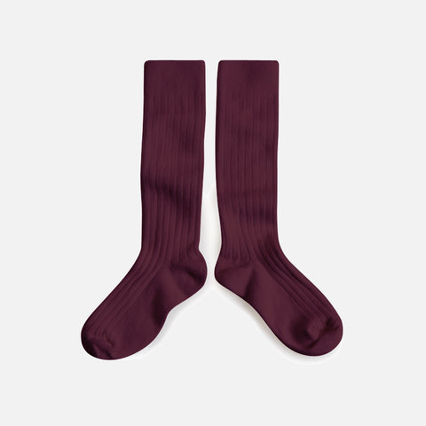 Adult Cotton Knee Socks - Aubergine
