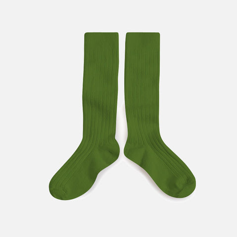 Adult Cotton Knee Socks - Grass Green - EU36-44/UK3.5-9