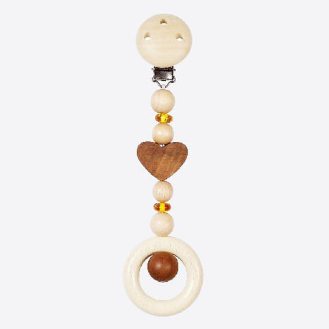 Natural wood hearts and amber mini mobile