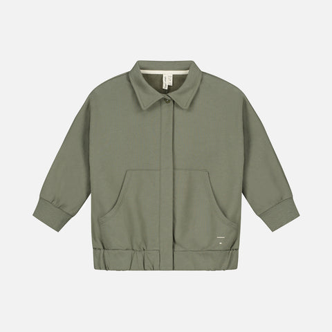 Organic Cotton Collar Jacket - Moss
