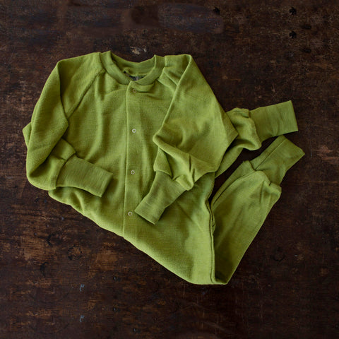 Merino Wool Terry Pyjamas Romper - Green