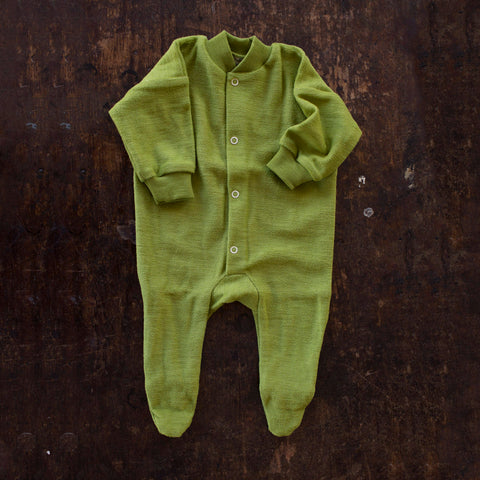 Merino Wool Terry Pyjamas - 0-24m - Green
