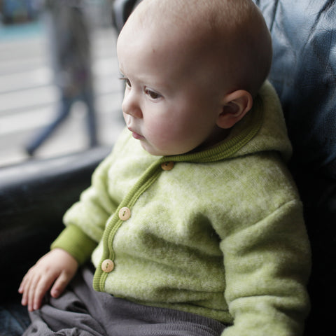 Merino wool fleece jacket green 3-12m