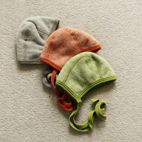 Merino wool fleece hat/bonnet Navy, Orange, Green, Brown, Latte & Purple 0-18m
