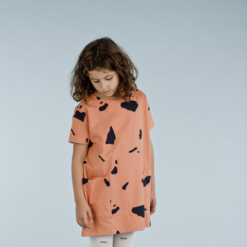 Pima Cotton Cut Outs Oversized Dress - Dark Peach - 2-8y