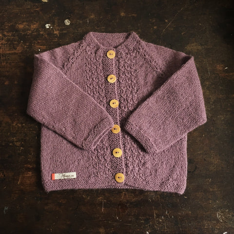 Hand-knitted Alpaca Cardigan - Old Rose - 1-3y
