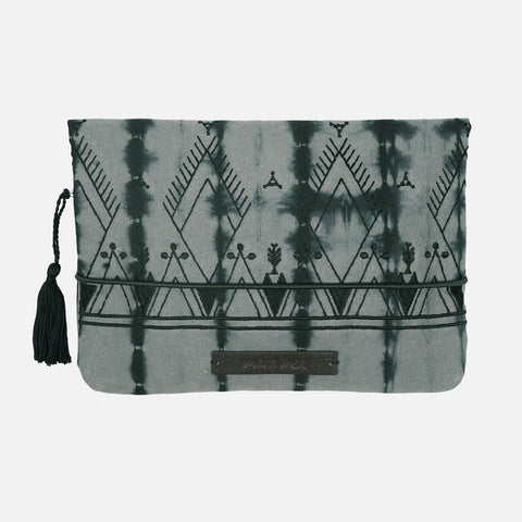 Cotton Nappy Clutch - Tie Dye - Black