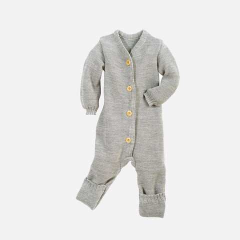 Organic Merino Knitted Baby Suit - Grey - 0-6m