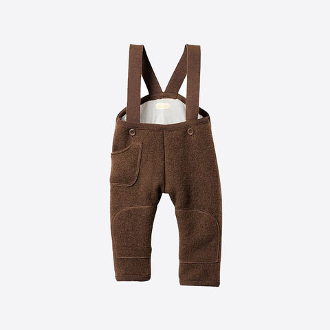 Exclusive Organic Boiled Wool Pocket Dungarees - Hazelnut