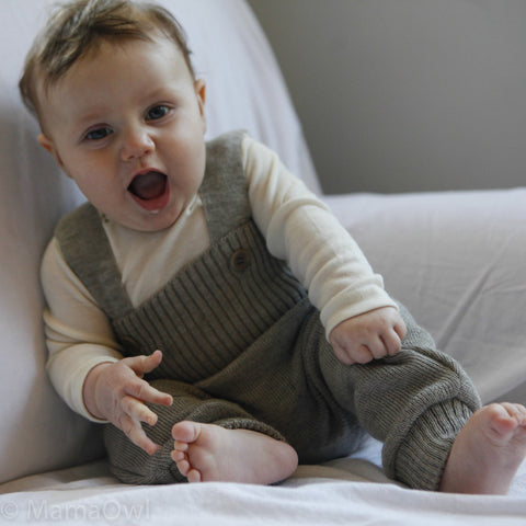 Wool knitted baby dungarees Grey, Natural, Green, Berry, Navy, Orange and Berry