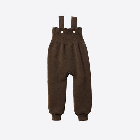 Wool knitted baby dungarees - Hazelnut - 0m-12m
