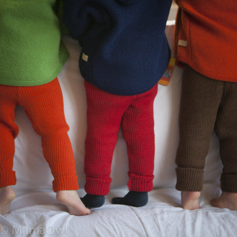 Wool rib leggings/trousers red, natural, green, navy, grey, berry, orange & hazelnut. 0m-6y