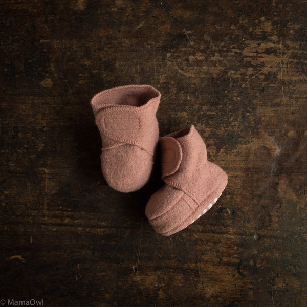 Organic Boiled Wool Booties - Rose