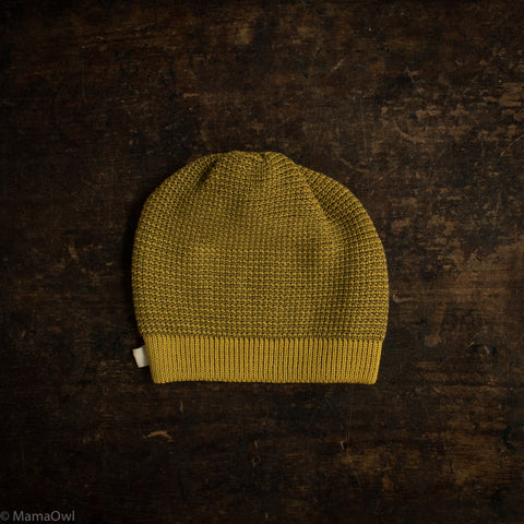 Organic Knitted Merino Beanie - Curry/Gold