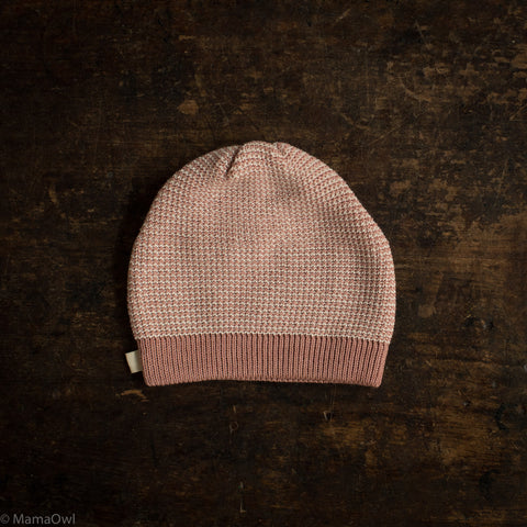 Organic Knitted Merino Beanie - Rose/Natural