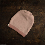 Organic Knitted Merino Long Beanie - Rose/Natural