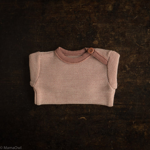 Organic Merino Wool Baby Jumper - Rose/Natural