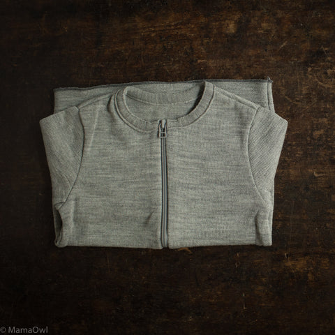 Organic Merino Wool Zip Cardigan - Grey