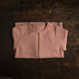 Organic Merino Wool Zip Cardigan - Rose