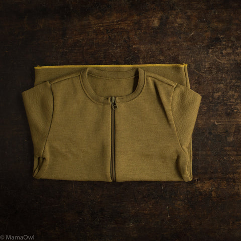 Organic Merino Wool Zip Cardigan - Gold