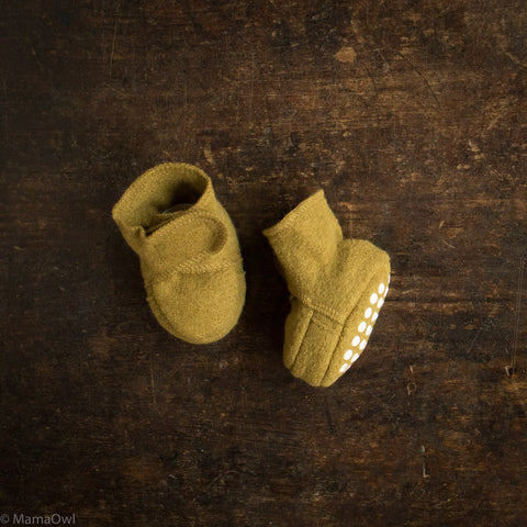 Organic Boiled Wool Booties - Gold