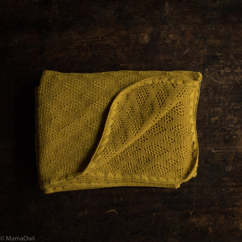Organic Merino Wool Baby Blanket - Curry